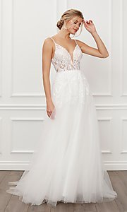 Image of long white formal bridal gown with train. Style: NA-21-E442 Front Image
