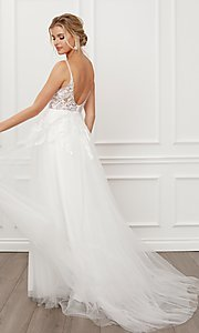 Image of long white formal bridal gown with train. Style: NA-21-E442 Back Image