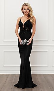 Image of strappy open-back long black formal prom dress. Style: NA-21-E451 Front Image
