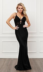 Image of strappy open-back long black formal prom dress. Style: NA-21-E451 Detail Image 1