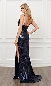 Image of navy blue sequin long formal evening gown. Style: NA-21-E452 Back Image