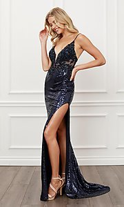 Image of navy blue sequin long formal evening gown. Style: NA-21-E452 Detail Image 1