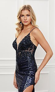 Image of navy blue sequin long formal evening gown. Style: NA-21-E452 Detail Image 2
