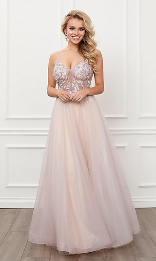Blush Pink Embroidered Sheer-Bodice Prom Ball Gown