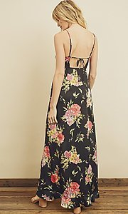 Image of floral print high-low maxi dress with ruffle. Style: LAS-DRE-21-FD4401 Back Image