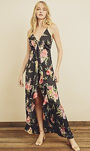 Image of floral print high-low maxi dress with ruffle. Style: LAS-DRE-21-FD4401 Front Image