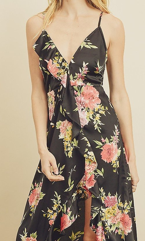 Image of floral print high-low maxi dress with ruffle. Style: LAS-DRE-21-FD4401 Detail Image 2