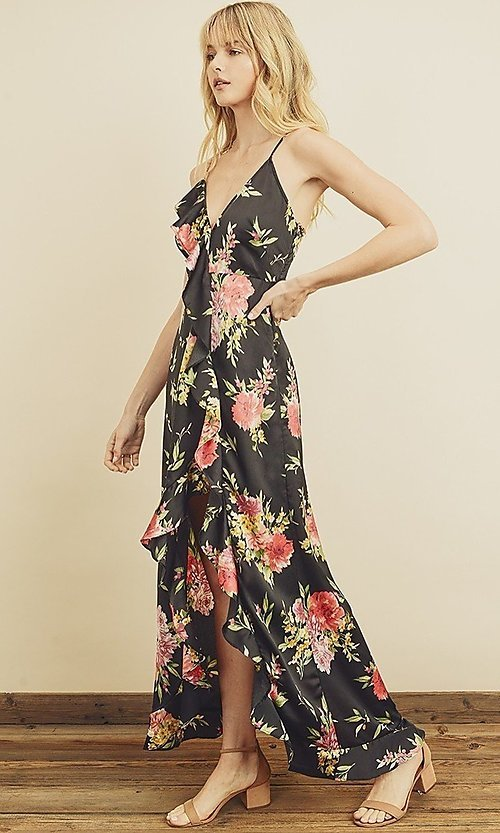 Image of floral print high-low maxi dress with ruffle. Style: LAS-DRE-21-FD4401 Detail Image 3