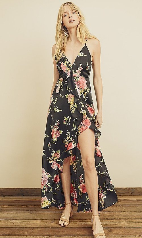 Image of floral print high-low maxi dress with ruffle. Style: LAS-DRE-21-FD4401 Detail Image 1
