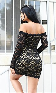 Image of long sleeve off-shoulder lace cocktail party dress. Style: LAS-CIE-21-TD3727 Detail Image 5