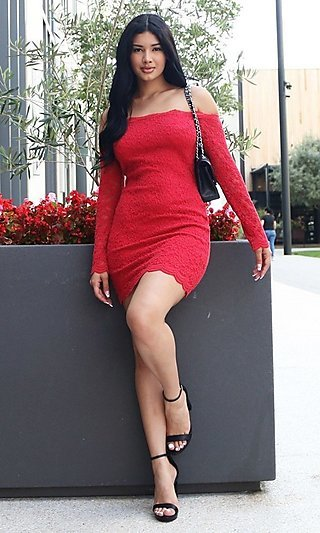 Long Sleeve Off-Shoulder Lace Cocktail Party Dress