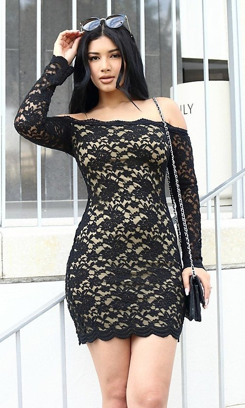 Image of long sleeve off-shoulder lace cocktail party dress. Style: LAS-CIE-21-TD3727 Detail Image 4
