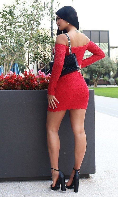 Image of long sleeve off-shoulder lace cocktail party dress. Style: LAS-CIE-21-TD3727 Back Image