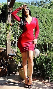 Image of sexy red velvet short cocktail party dress. Style: LAS-CIE-21-TD5334 Front Image