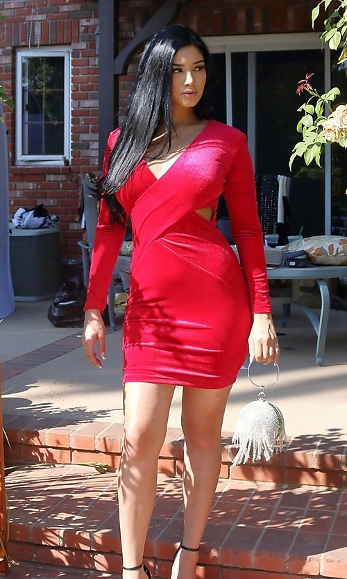 Image of sexy red velvet short cocktail party dress. Style: LAS-CIE-21-TD5334 Detail Image 2