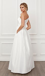Image of prom 2021 long white ball gown with pockets. Style: NA-21-E469 Back Image