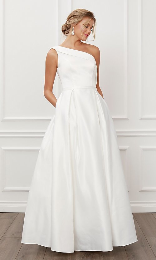 Image of prom 2021 long white ball gown with pockets. Style: NA-21-E469 Front Image