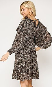 Image of casual print short dress with ruffle sleeves. Style: LAS-GIG-21-TC1690 Detail Image 3