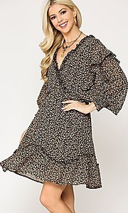 Image of casual print short dress with ruffle sleeves. Style: LAS-GIG-21-TC1690 Detail Image 4