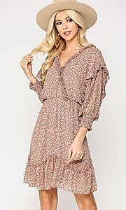Image of casual print short dress with ruffle sleeves. Style: LAS-GIG-21-TC1690 Front Image