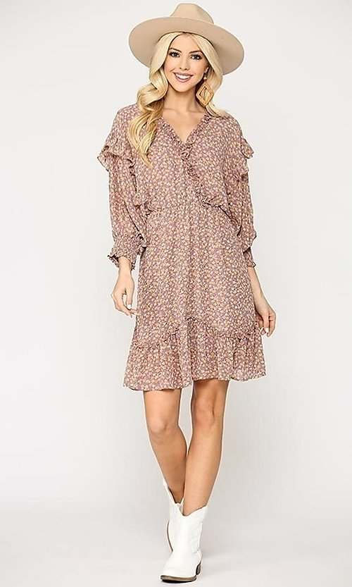 Image of casual print short dress with ruffle sleeves. Style: LAS-GIG-21-TC1690 Detail Image 1