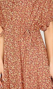 Image of short sleeve short print casual dress with pockets. Style: LAS-GIG-21-TC1738 Detail Image 6