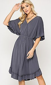 Image of ruffle 3/4 sleeve casual knee-length dress. Style: LAS-GIG-21-TC1759 Detail Image 2