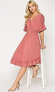 Image of ruffle 3/4 sleeve casual knee-length dress. Style: LAS-GIG-21-TC1759 Front Image