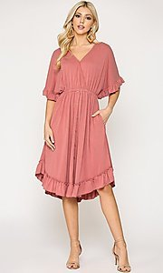 Image of ruffle 3/4 sleeve casual knee-length dress. Style: LAS-GIG-21-TC1759 Detail Image 1
