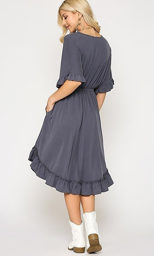 Image of ruffle 3/4 sleeve casual knee-length dress. Style: LAS-GIG-21-TC1759 Detail Image 3