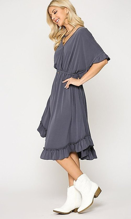Image of ruffle 3/4 sleeve casual knee-length dress. Style: LAS-GIG-21-TC1759 Detail Image 4