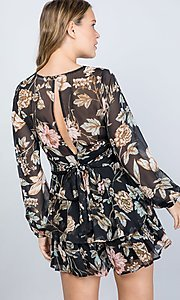 Image of long sleeve casual black floral short party romper. Style: LAS-ILL-21-IM5000Q Back Image
