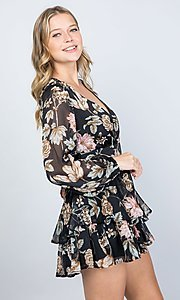Image of long sleeve casual black floral short party romper. Style: LAS-ILL-21-IM5000Q Detail Image 1