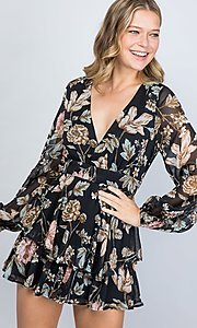 Image of long sleeve casual black floral short party romper. Style: LAS-ILL-21-IM5000Q Detail Image 2