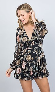 Image of long sleeve casual black floral short party romper. Style: LAS-ILL-21-IM5000Q Detail Image 3