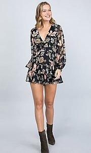 Image of long sleeve casual black floral short party romper. Style: LAS-ILL-21-IM5000Q Detail Image 4