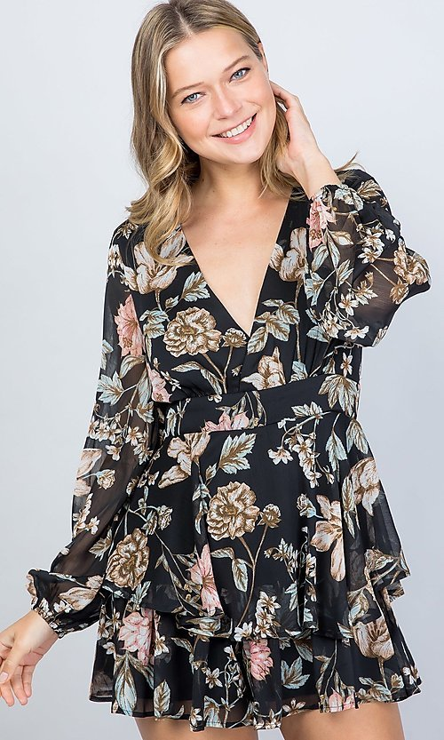 Image of long sleeve casual black floral short party romper. Style: LAS-ILL-21-IM5000Q Front Image