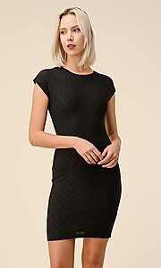 Image of cap sleeve jacquard short casual party dress. Style: LAS-HAH-21-JD43053 Detail Image 7