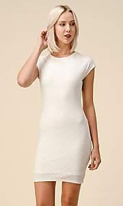 Image of cap sleeve jacquard short casual party dress. Style: LAS-HAH-21-JD43053 Front Image
