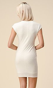 Image of cap sleeve jacquard short casual party dress. Style: LAS-HAH-21-JD43053 Back Image