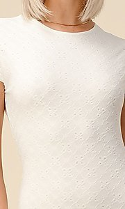 Image of cap sleeve jacquard short casual party dress. Style: LAS-HAH-21-JD43053 Detail Image 2