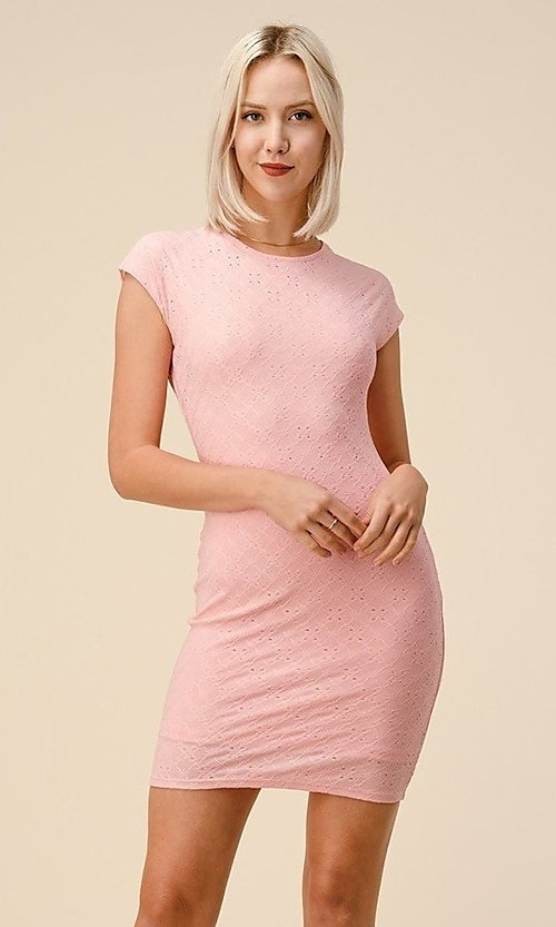 Image of cap sleeve jacquard short casual party dress. Style: LAS-HAH-21-JD43053 Detail Image 6