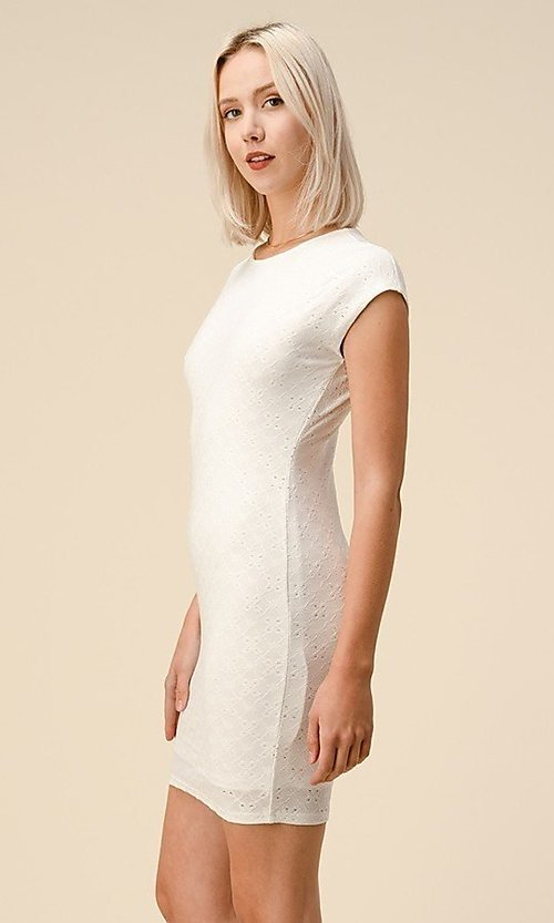 Image of cap sleeve jacquard short casual party dress. Style: LAS-HAH-21-JD43053 Detail Image 1