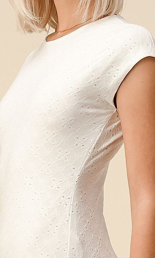 Image of cap sleeve jacquard short casual party dress. Style: LAS-HAH-21-JD43053 Detail Image 3
