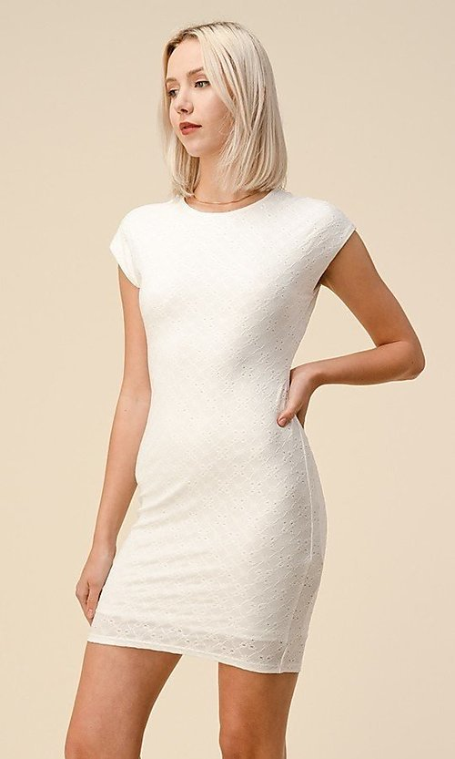 Image of cap sleeve jacquard short casual party dress. Style: LAS-HAH-21-JD43053 Detail Image 4