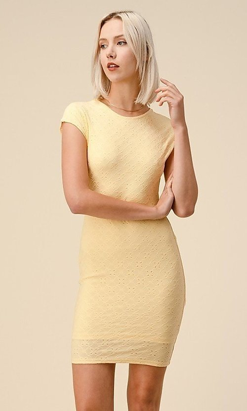 Image of cap sleeve jacquard short casual party dress. Style: LAS-HAH-21-JD43053 Detail Image 5