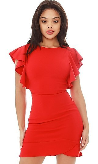 Strappy-Side Short Ruffle Sleeve Cocktail Dress