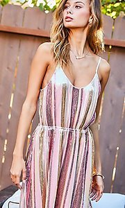 Image of striped multi-color short sequin party dress. Style: LAS-MST-21-LD51318 Detail Image 1
