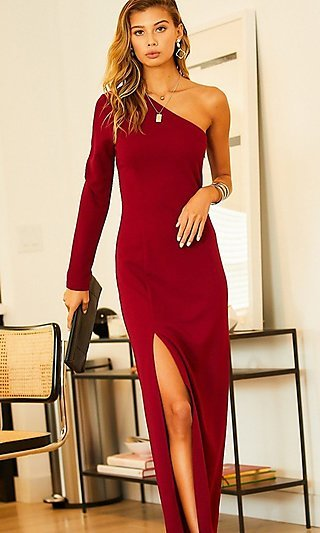 Classic Long One Sleeve Formal Evening Gown