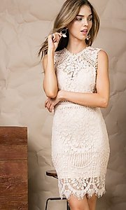 Image of crocheted lace short cocktail dress. Style: LAS-MST-21-LD5346 Detail Image 2